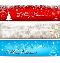 Christmas banner with snowflakes set vector image
