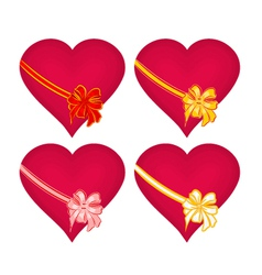 Red hearts with ribbon valentines day vector