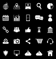 Seo icons on black background vector
