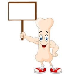 Strong bone cartoon character holding blank sign vector