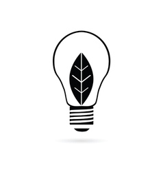Bulb with plant black vector