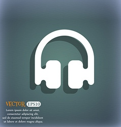 Headphones earphones icon symbol on the blue-green vector