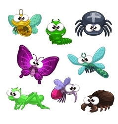 Funny cartoon insects set vector