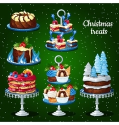 Great set of desserts for the Christmas holidays vector image