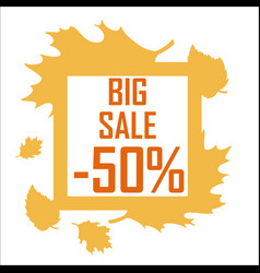 a big autumn sale of fifty percent surrounded by vector image vector image