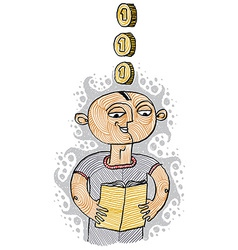 a boy reading a book Education and learning con vector image vector image