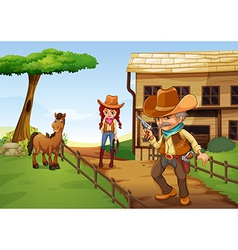 A cowgirl and an armed cowboy near the barnhouse vector image