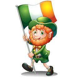 A old man with the flag of Ireland vector image vector image