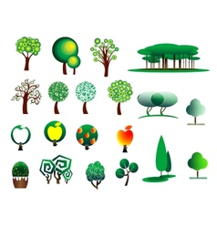 Abstract stylized tree icons vector image vector image