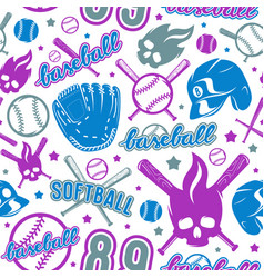 Baseball and softball seamless pattern vector