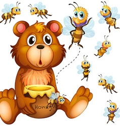 Bear holding honey jar and bees flying around vector image