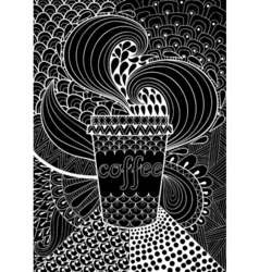 Black coffee patterned background for adult vector