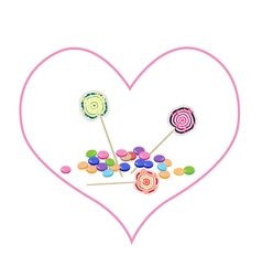 Chocolates and Lollipops in Lovely Heart Shape vector image vector image