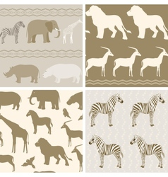 Collection of african animals patterns vector image vector image