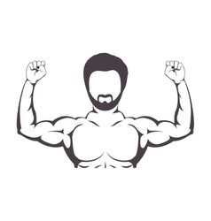 Contour half body muscle man vector