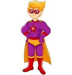 Cute superhero cartoon standing vector