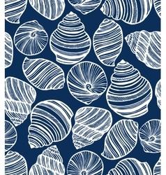dark background with seashells vector image