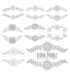 Doodles floral frames vector