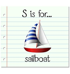 Flashcard letter s is for sailboat vector
