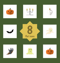 flat icon celebrate set of cranium spirit zombie vector image
