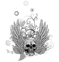 floral with skull and wings vector image vector image