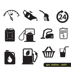 Gas station set vector image
