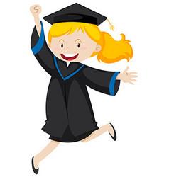 Girl in black graduation gown vector