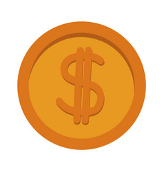 Gold coin dollar money currency icon vector