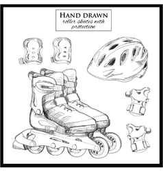 Hand drawn elements of set roller skates with vector