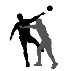 Handball player blocking opponent player vector