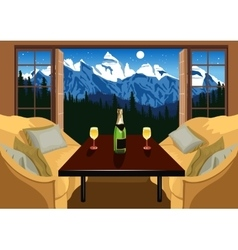 Interior of a hotel room in ski resort vector