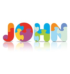John written with alphabet puzzle vector