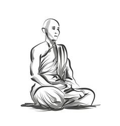 Line sketch meditating monk vector