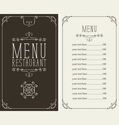 Menu for restaurant with curlicues and price list vector