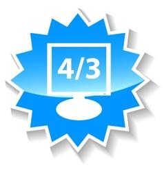 Monitor blue icon vector