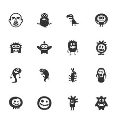 Monster icons set vector