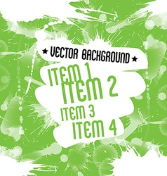 Paint splatters over green background dirty art vector image