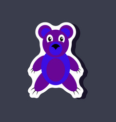 Paper sticker on stylish background toy bear vector