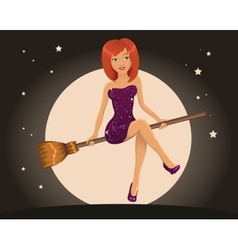 Sexy Halloween witch flying on a broom vector image
