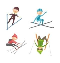 Skiing people tricks vector