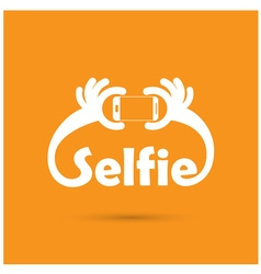 Taking selfie portrait photo on smart phone vector
