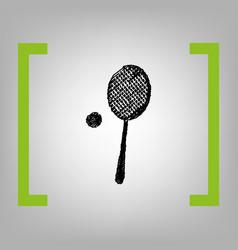 Tennis racquet sign black scribble icon vector