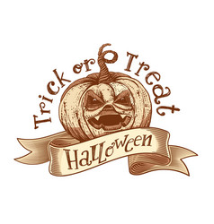 trick or treat retro halloween sketch vector image