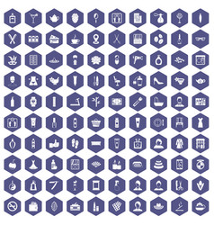 100 beauty salon icons hexagon purple vector image
