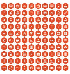 100 craft icons hexagon orange vector