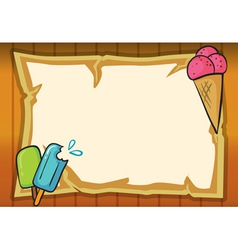 ice cream and paper sheet vector image