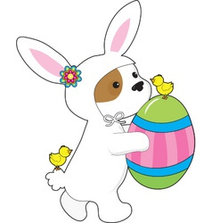 Cute puppy bunny suit vector