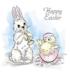 Easter card with rabbit and newborn chicken vector