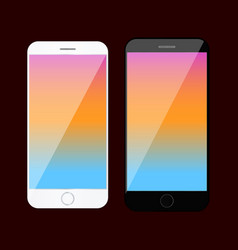 smartphone mockup with colored screen vector image