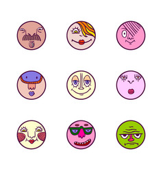 Set of colorful face avatar expression icons vector